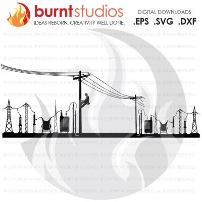 SVG Cutting File, Power Lineman on Poles with Two Substations, Line Life, Woodwalker, Linemen, Journeyman, Apprentice, DIY Vinyl, Decals