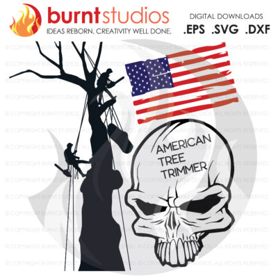 SVG Cutting File, American Tree Trimmer Skull and USA Flag, Arborist, Tree Climber, Climbing Hooks, Spikes, Gaffs, Decal, Svg, PNG