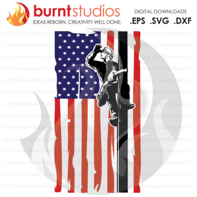 SVG Cutting File, Detailed Lineman on Grunge America USA Flag, Power Lineman, Line Life, Journeyman, Apprentice, Vinyl, DIY, png, eps, dxf