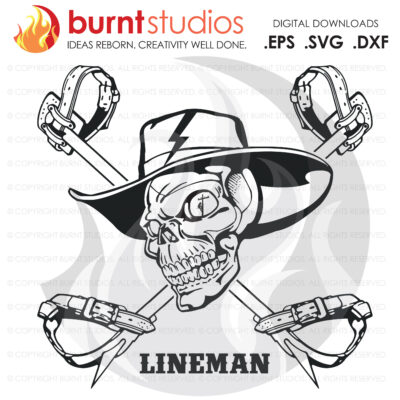 SVG Cutting File, Lineman Skull with Hooks New, Line Life, Power Lineman, Journeyman, Wood Walker, Storm Chaser, DIY, Vinyl, Cricut, PNG