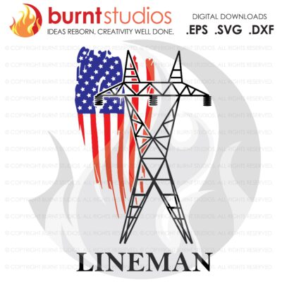 SVG Cutting File, Transmission Lineman USA Flag, United States of America, Linemen, Power, Climbing Hooks, Spikes, Gaffs, Decal, Svg, Png