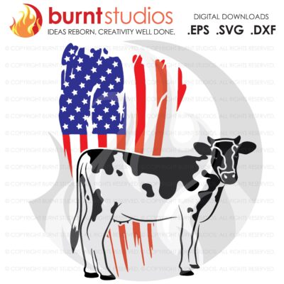 SVG Cutting File, USA Grunge Flag with Cow, Farm Life, America, Bull, USA, Milk Cow, Heffer, Duck, Horse, Pig, Goat, Vinyl, Cameo, Cricut