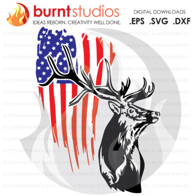 SVG Cutting File, USA Grunge Flag with Deer Buck, Antlers, Hunting, America, Rifle, Buck Shot, Shot Gun, Country Life, Cameo, Cricut, DIY