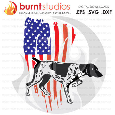 SVG Cutting File, USA Grunge Flag with Hunting Dog, Duck Season, Deer Season, Shotgun, Rifle, American Dog, America, DIY, Cricut, Cameo