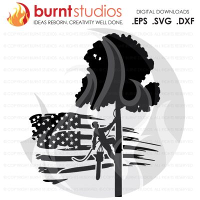 SVG Cutting File, Tree Trimmer on USA Grunge Flag with Tree & Leaves, United States of America, Arborist, Tree Climber, Climbing Hooks, PNG