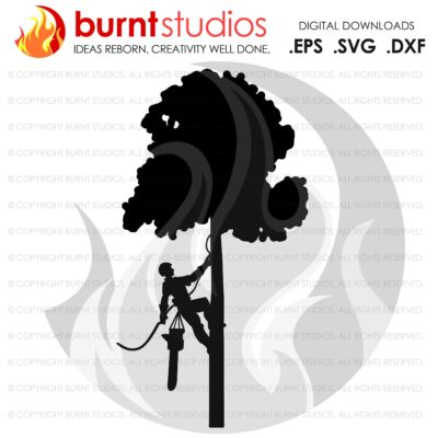 SVG Cutting File, Tree Trimmer Only On Tree & Leaves, United States of America, Arborist, Tree Climber, Climbing Hooks, PNG