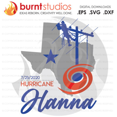 Hurricane Hanna Power Lineman SVG Cutting File, Texas, Storm chaser, Linemen, Line Crew, Climbing Hooks, Wood Walkers, Power, PNG