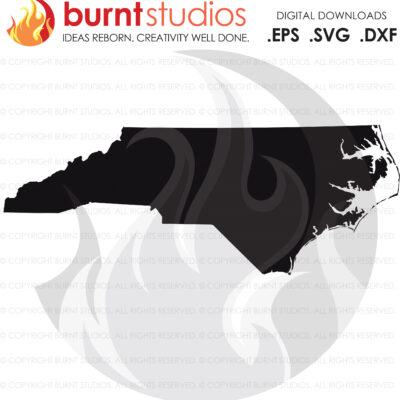 SVG Cutting File, North Carolina State Outline Only, Raleigh, Charlotte, Winston Salem, New Bern, Wilmington, Goldsboro, Asheville, RDU, PNG