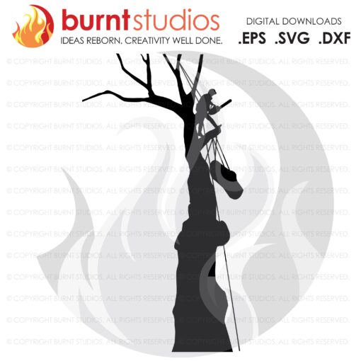 SVG Cutting File, Tree Trimmer with Man & Log, Arborist, Tree Climber, Climbing Hooks, Spikes, Gaffs, Decal, Svg, PNG