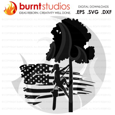 SVG Cutting File, Female Tree Trimmer on USA Grunge Flag with Tree & Leaves, United States of America, Arborist, Tree Climber Climbing Hooks