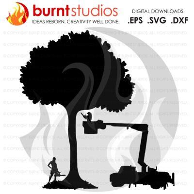 SVG Cutting File, Female Tree Trimmers and Bucket Truck, Arborist, Climbing Hooks, Spikes, Gaffs, Skull,  Shirt Design, Decal Design, PNG