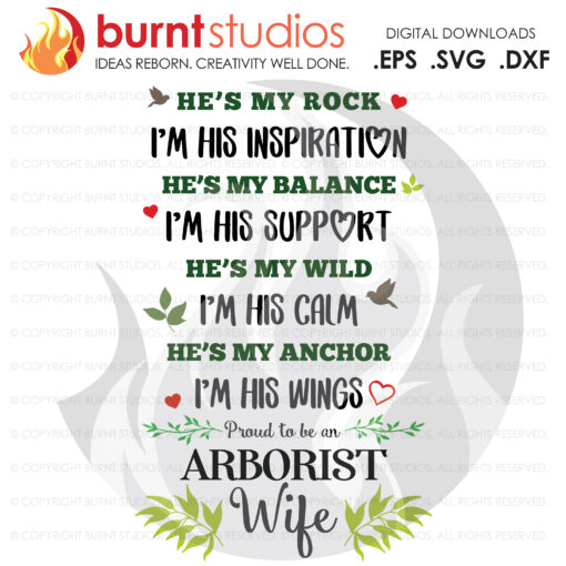 SVG Cutting File, Proud to be an Arborist Wife, Tree Trimmer, Tree & Leaves, Tree Climber, Climbing Hooks, PNG