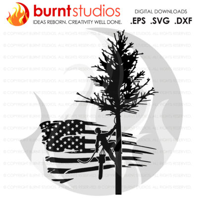 SVG Cutting File, Tree Trimmer on USA Grunge Flag with Pine Tree, United States of America, Arborist, Tree Climber, Climbing Hooks, PNG