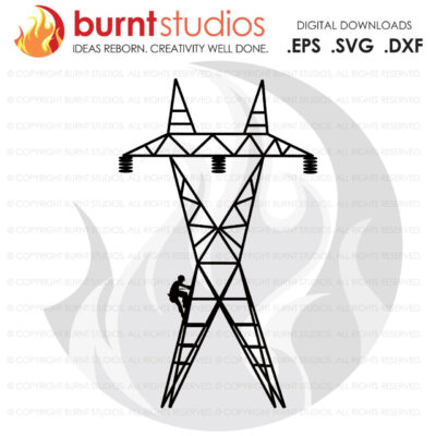 SVG Cutting File, Transmission Tower Lineman, United States of America, Linemen, Power, Climbing Hooks, Spikes, Gaffs, Decal, Svg, Png