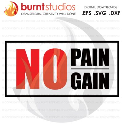 No Pain No Gain, SVG Cutting File, Exercising, Body Building, Health, Lifestyle, Cardio, Squats, Digital File, Download, PNG, DXF, eps