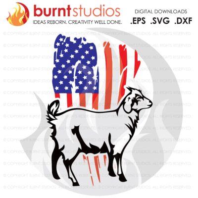 SVG Cutting File, USA Grunge Flag with Goat, Farm Life, America, Bull, USA, Milk Cow, Heffer, Duck, Horse, Pig, Goat, Vinyl, Cameo, Cricut