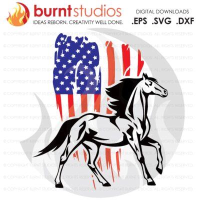 SVG Cutting File, USA Grunge Flag with Horse, Farm Life, America, Bull, USA, Milk Cow, Heffer, Duck, Horse, Pig, Goat, Vinyl, Cameo, Cricut