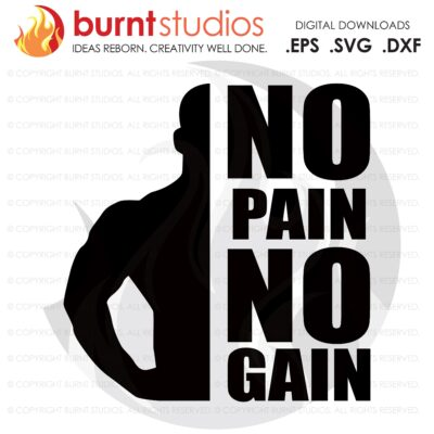No Pain No Gain, SVG Cutting File, Exercising, Body Building, Health, Lifestyle, Cardio, Squats Digital File, Download, PNG, DXF, eps