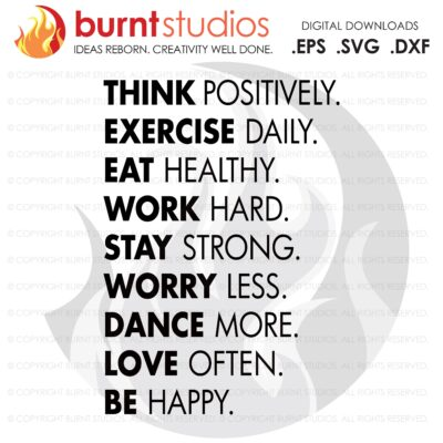Think Positively Exercise, SVG Cutting File,Exercising, Body Building, Health, Lifestyle, Squat,Cardio Digital File, Download, PNG, DXF, eps